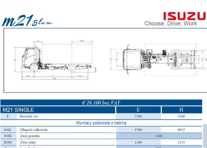 Opis techniczny Isuzu M21 Single